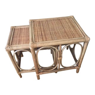 20th Century Boho Chic Bamboo and Rattan Nesting Tables - 2 Pieces For Sale