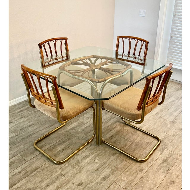 Palm Collection Mid Century Modern Bamboo Glass and Brass Dining Set For Sale - Image 9 of 9