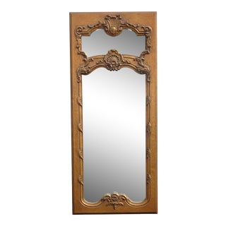 1950s Vintage French Provincial Gold Wall Mantle Mirror For Sale