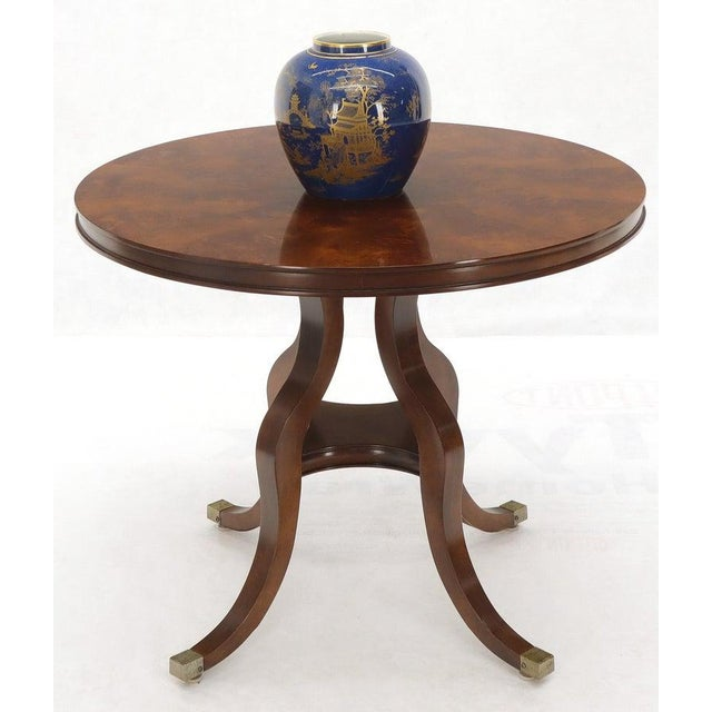 Brown Flame Mahogany Round Top Lamp Table by Century For Sale - Image 8 of 13