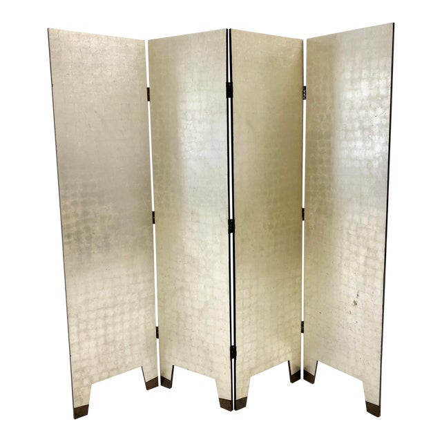 Silver Foil Folding Screen For Sale