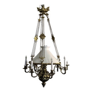 Antique French Brass Suspension Lantern, Circa 1870-1890. For Sale