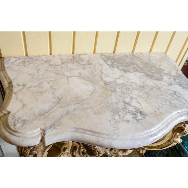 Marble French, Gilt Console Table For Sale - Image 7 of 9