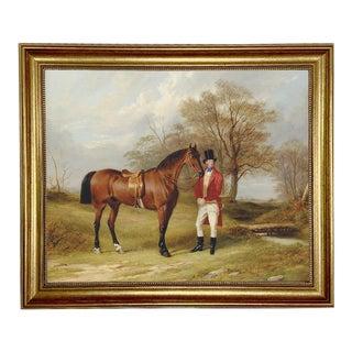 "Gentleman Standing Beside Saddled Hunter Framed Oil Painting Print on Canvas in Antiqued Gold Frame 16"" X 20"" Framed to 19-1/2"" X 23-1/2"". For Sale"