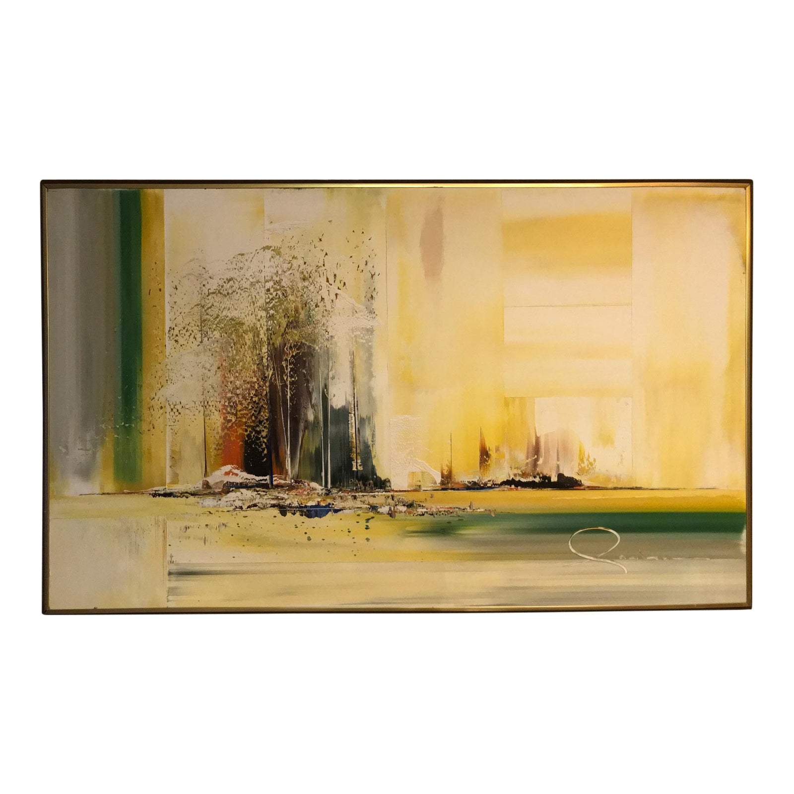 1960S Modern California Abstract Landscape Oil Painting On Masonite -