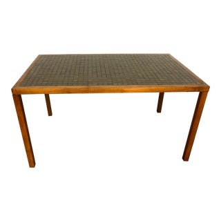 Martz Walnut and Tile Vintage Low Dining Table For Sale