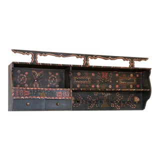 Antique Original Hand-Painted 6' Long Hanging Rack With Black and Red Accents Dated 1882 For Sale