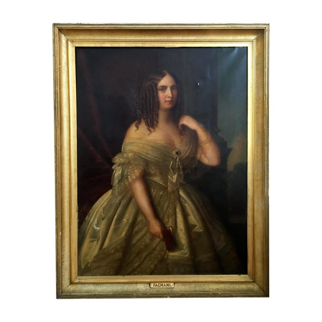 Antique Giuseppe Fagnani Oil Portrait Painting - Image 1 of 8