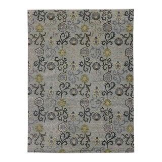 Slate Transitional Floral Rug For Sale