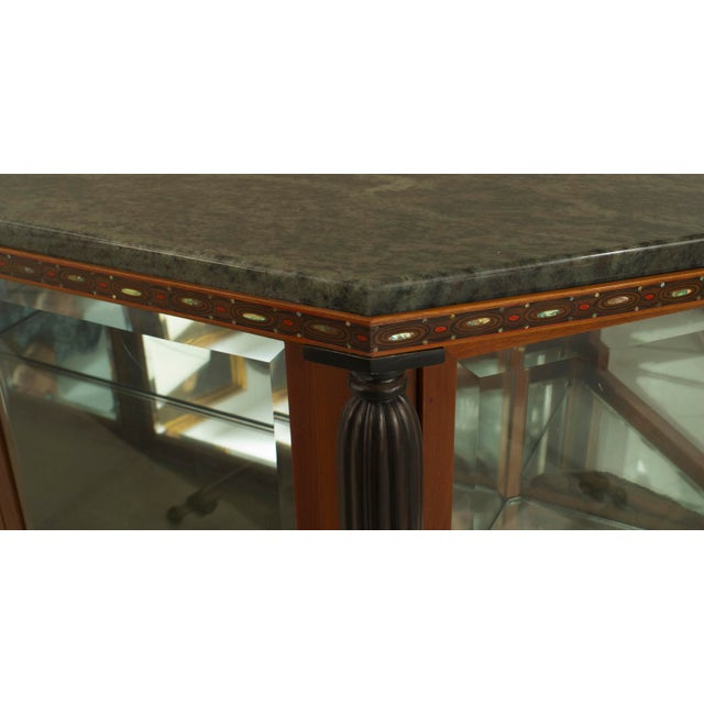 French Art Deco mahogany sideboard cabinet with 4 glass front doors & inlaid trim edge under a marble top with 4 tapered...
