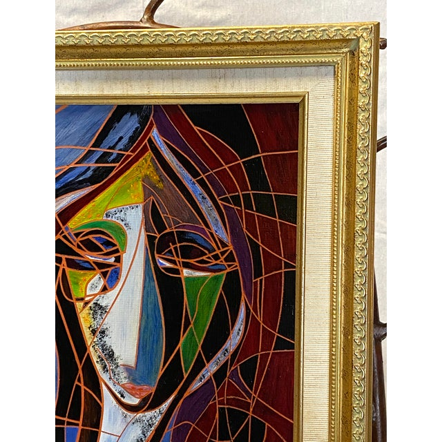 Abstract Beautiful Vintage Oil on Canvas Signed Abstract Cubism Gold Frame For Sale - Image 3 of 8