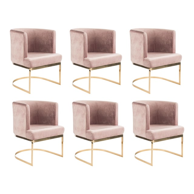 2010s Modern Blush Velvet & Gold Circular Accent Chairs - Set of 6 For Sale - Image 5 of 5