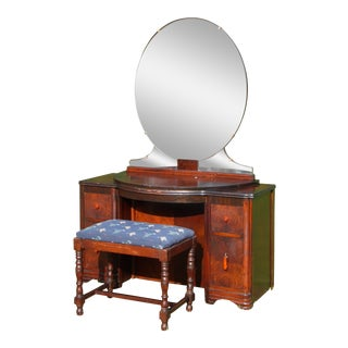 Antique Art Deco Walnut Vanity Bedroom Dressing Table W/ Mirror & Bench