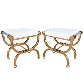 "Brass and Lucite ""Empire"" Style Benches by Charles Hollis Jones For Sale"