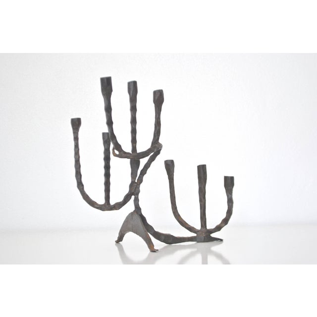 Midcentury Brutalist Handwrought Candlestick For Sale - Image 9 of 10