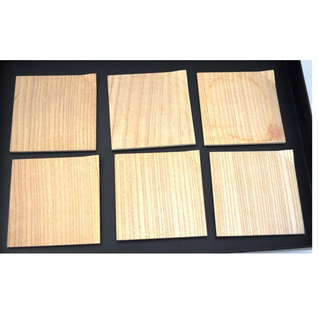 1950s Japanese Hinoki Cypress Wood Amuse Bouche Salad Dessert Small Square Plates Set of 6 Natural Organic For Sale - Image 5 of 5