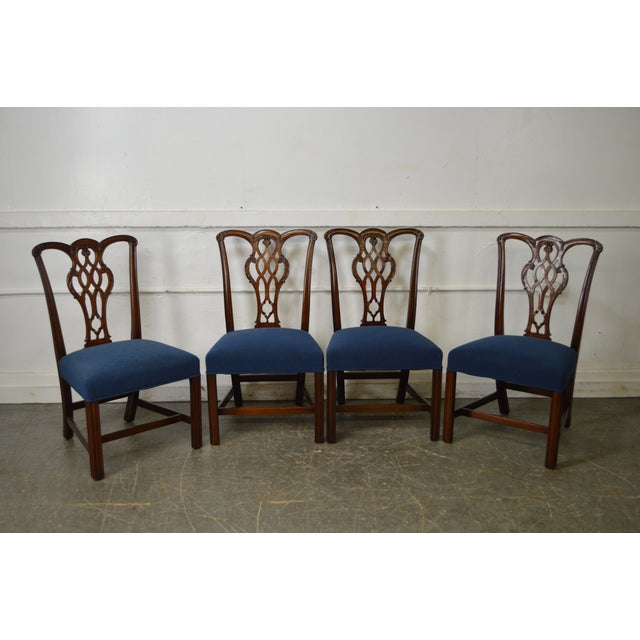 Chippendale Style Set of 8 Custom Mahogany Dining Chairs - Image 8 of 11