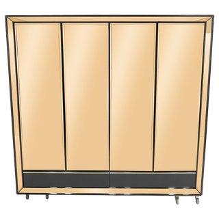 1970s Sandro Petti Italian Black Lacquered Brass Mirrored Wardrobe Cabinet For Sale