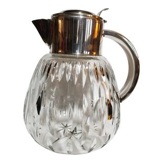 1940s German Silver Plate and Cut Crystal Ice Water Pitcher For Sale