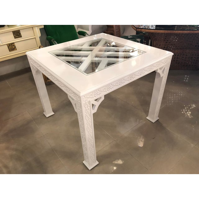 Vintage Chinese Chippendale, fretwork fret work, dining or game table. New glass insert, newly lacquered in a white gloss.