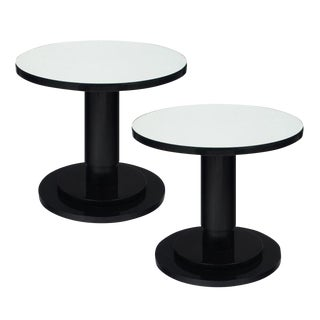 Pair of French Modernist Ebonized Bistro Tables For Sale