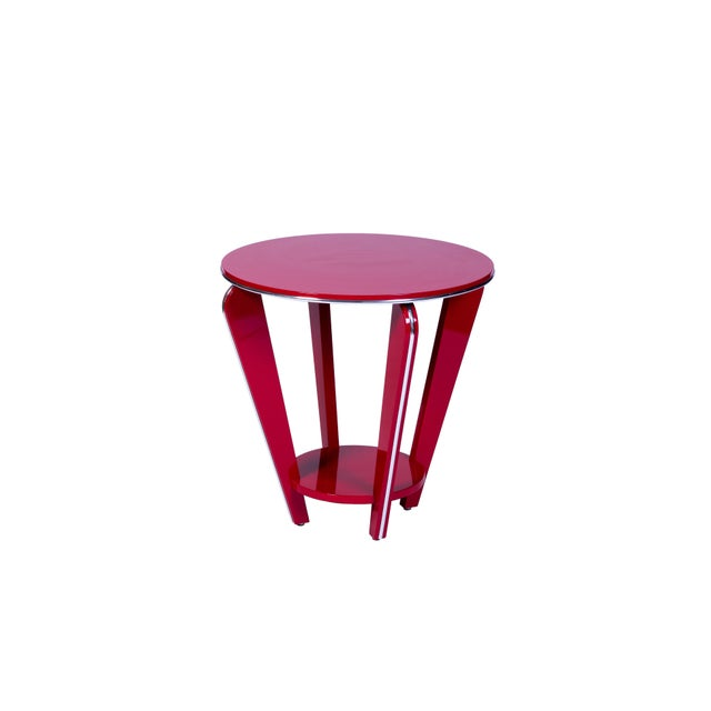 1930s Art Deco Style Side Table in Crimson Lacquer For Sale - Image 5 of 5