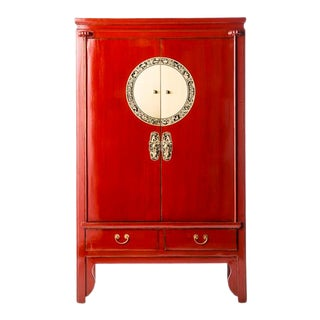 Asian Contemporary Red Lacquer Armoire For Sale