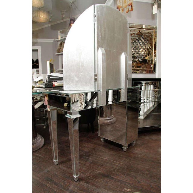 Silver Art Deco Style Mirrored Dressing Table For Sale - Image 8 of 10
