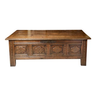 Antique French Chestnut Brittany Coffer For Sale