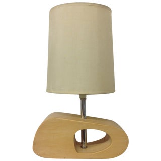 Biomorphic Chrome & Blond Wood Desk Lamp For Sale