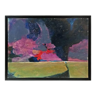 1960's Abstract Landscape in Green and Purple For Sale