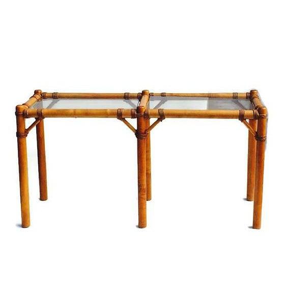"Vintage Safari Campaign Sofa Table Console Table Smokey Glass - 50"" For Sale - Image 10 of 11"
