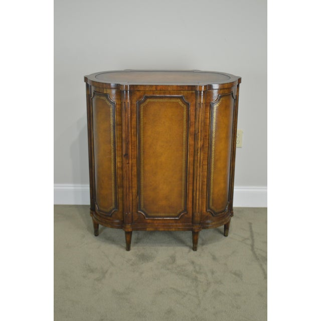 John Richards Regency Style Mahogany Leather Wrapped Console Cabinet For Sale - Image 10 of 12