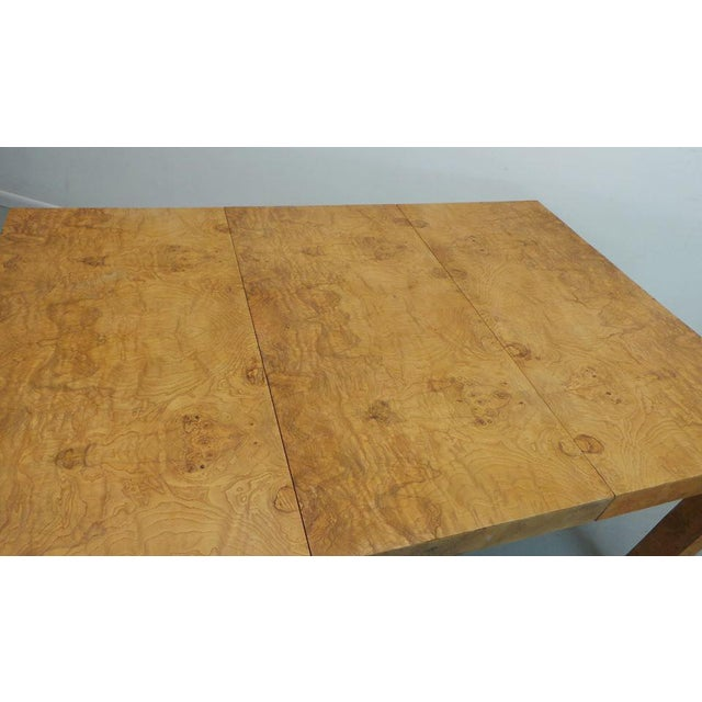 1970s Mid Century Modern Milo Baughman Thayer Coggin Olive Burlwood Parsons Dining Table With 2 Leafs For Sale - Image 5 of 11