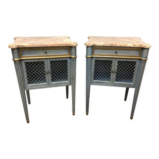 Louis XVI Style Blue & Gold Marbletop Nightstands - a Pair For Sale