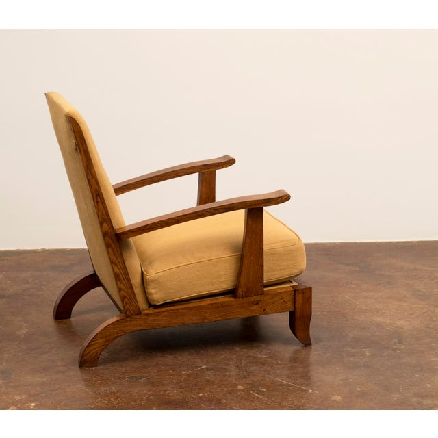 Pair of French Lounge Chairs in Oak and Belgian Linen, 1940s For Sale In Santa Fe - Image 6 of 13