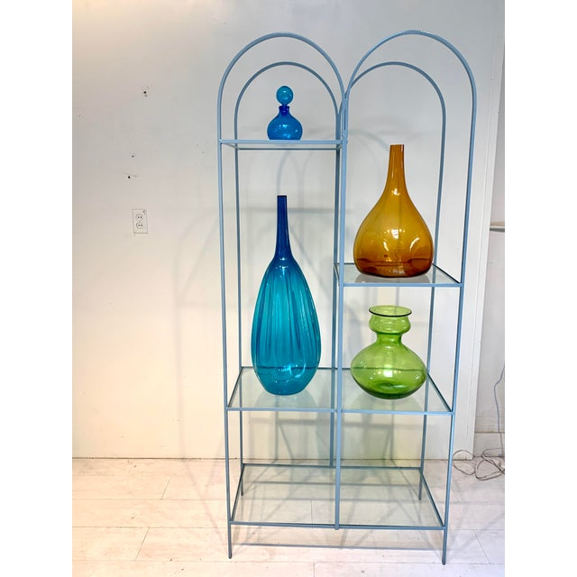 Mid Century Modern Arched Powder Blue Metal and Glass Display Shelf Unit For Sale In Los Angeles - Image 6 of 7