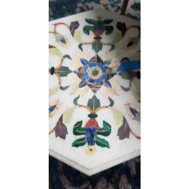 Vintage Hardstone Inlaid Marble Top Octagonal Side Table For Sale - Image 10 of 12