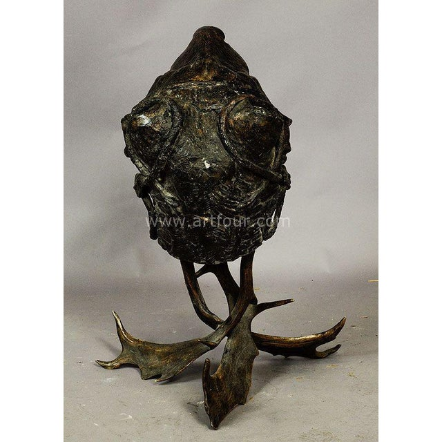 Late 19th Century Gorgeous Papier Mache Lion Head Basket on Antler Base 1880 For Sale - Image 5 of 7