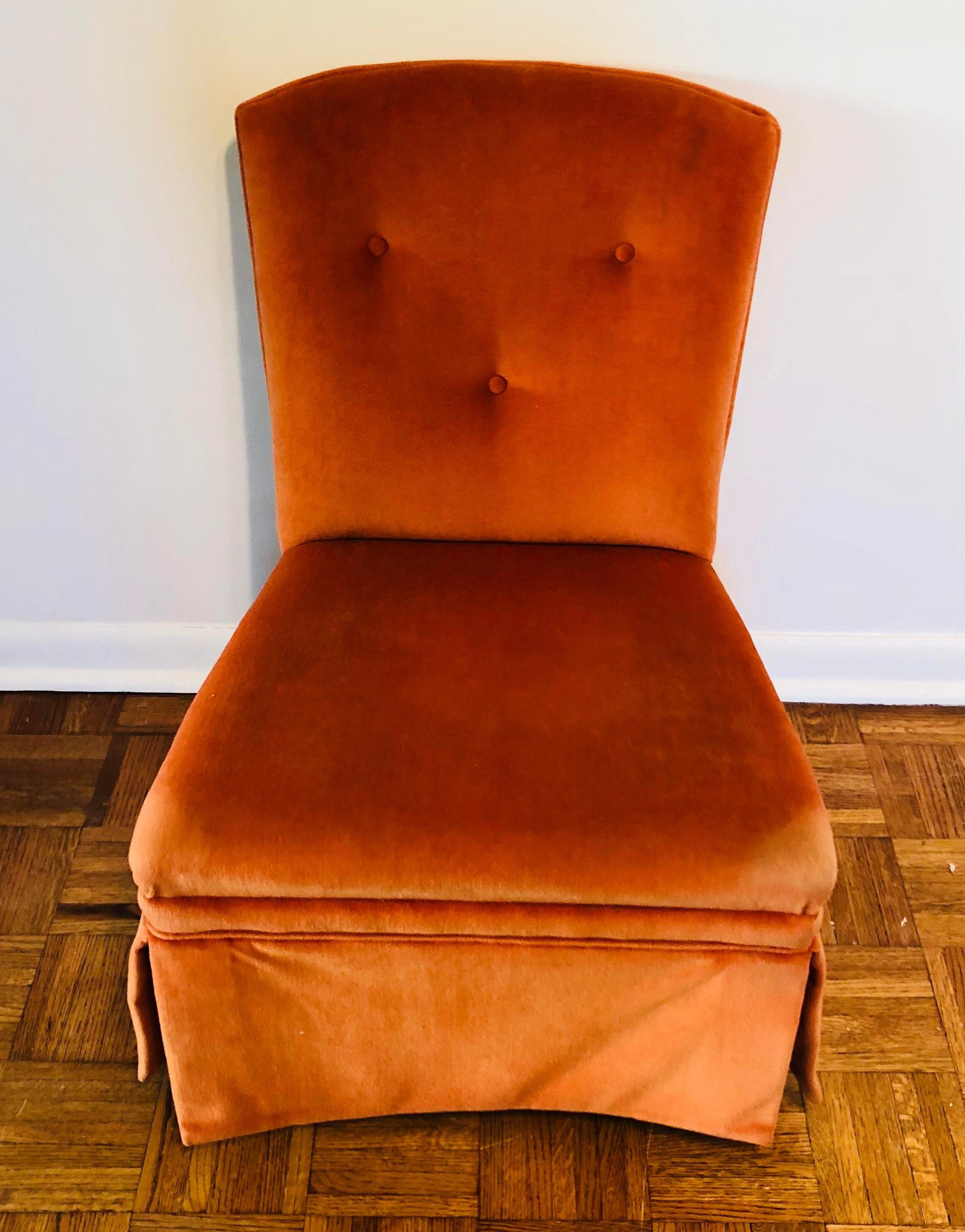 Textile Orange Velvet Slipper Chair For Sale   Image 7 Of 7