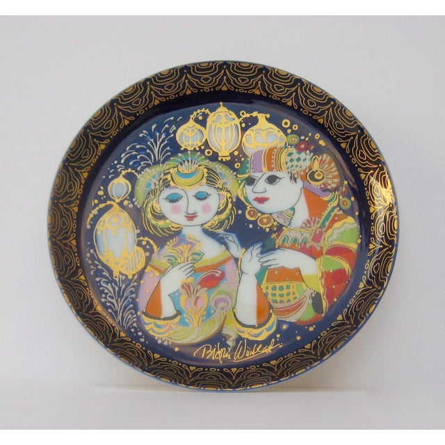 "Vinatge; Collectible Bjorn Wiinblad ""Aladin"" series porcelain, hand painted with a vibrant cobalt blue interior, glazed,..."