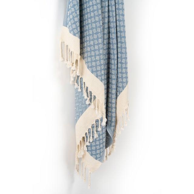 Modern Modern Love Handmade Organic Cotton Towel in Marlin Blue For Sale - Image 3 of 5