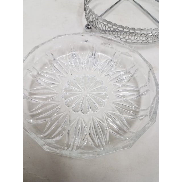 Antique English Silver Plate & Glass Serving Condiment Dish With Spoon For Sale - Image 9 of 10
