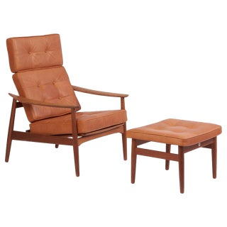 Reclining Lounge Chair Fd 164 With Ottoman by Arne Vodder, Denmark, 1960s For Sale