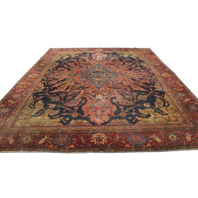 Asian Antique Farahan Rug with Modern Industrial Style, Persian Area Rug For Sale - Image 3 of 8
