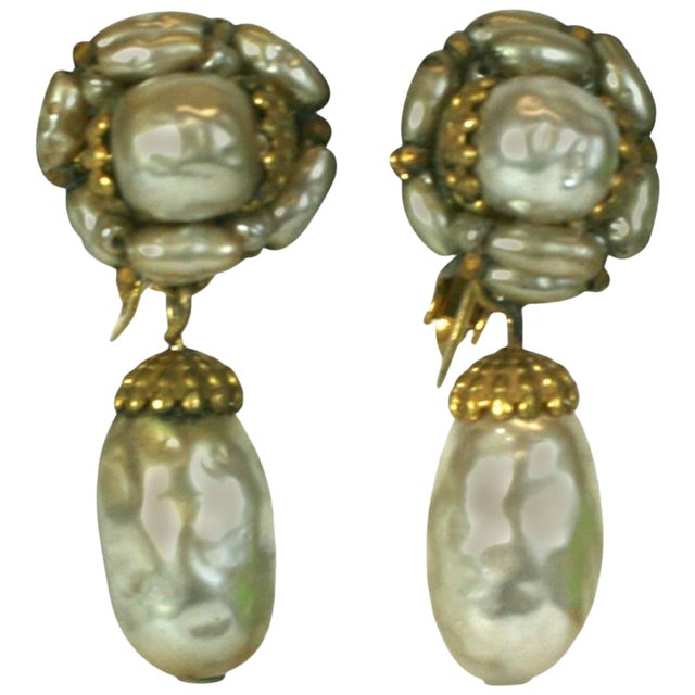 Miriam Haskell Pearl and Gilt Pendant Earclips For Sale