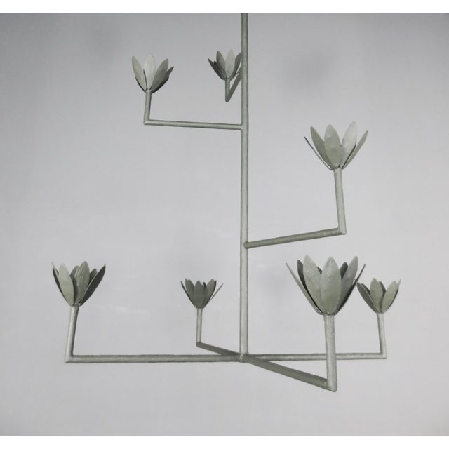9 Bloom Plaster Chandelier For Sale - Image 4 of 8