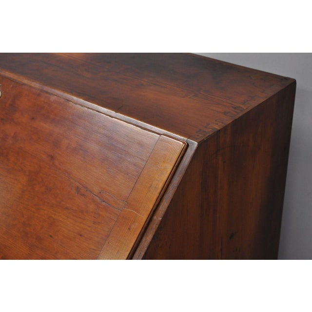 Gold 19th Century Chippendale Mahogany Slant Top Carved Ball & Claw Secretary Desk For Sale - Image 8 of 13