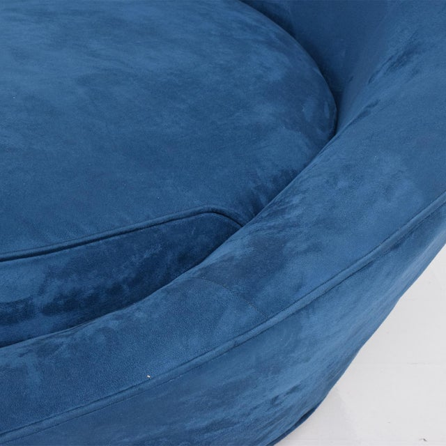 Textile Mid-Century Modern Adrian Pearsall Large Lounge Chair in Blue Velvet Milo Baughman For Sale - Image 7 of 9
