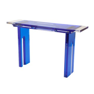Contemporary Lucite Console Table in Cobalt and Clear Lucite For Sale